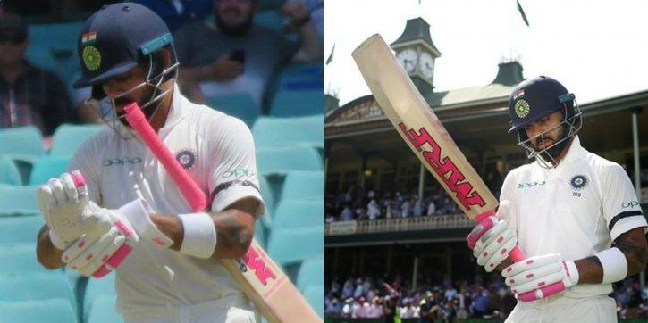 Virat Kohli wore pink gloves
