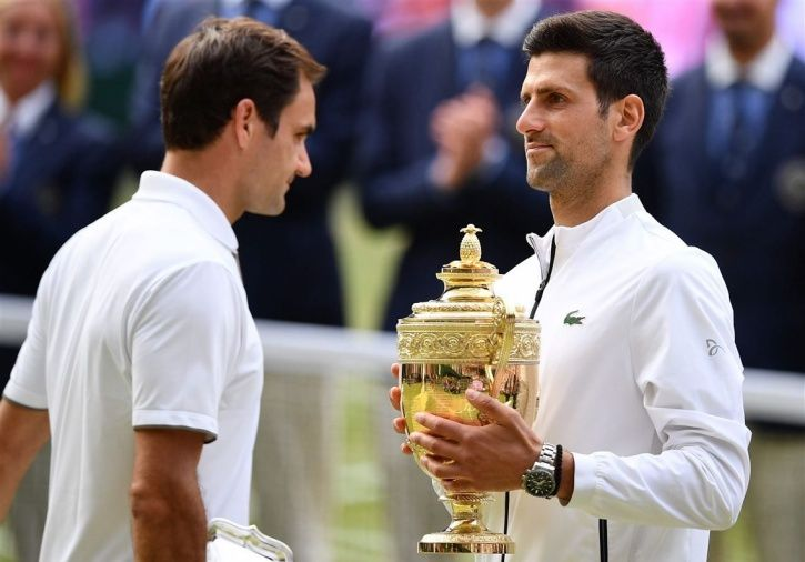 Roger Federer vs Novak Djokovic at Wimbledon final.