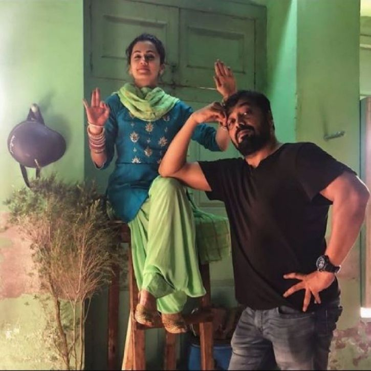 Anurag Kashyap and Taapsee Pannu in a goofy pose on the sets of Manmarziyaan.