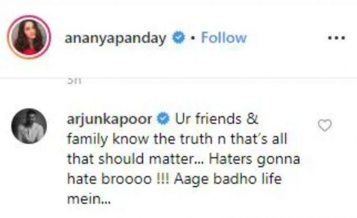 Arjun Kapoor supports Ananya Panday.