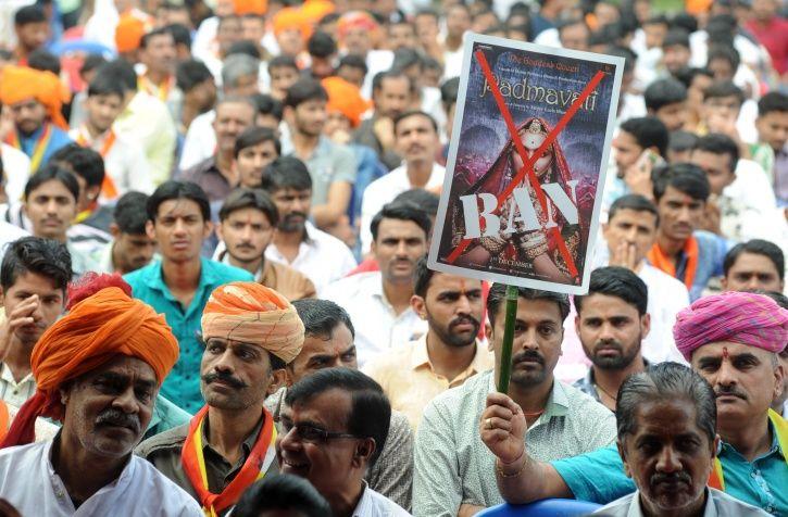 Karni Sena protesting against the release of Sanjay Leela Bhansali