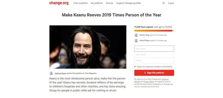 Keanu Reeves petition on change.org.