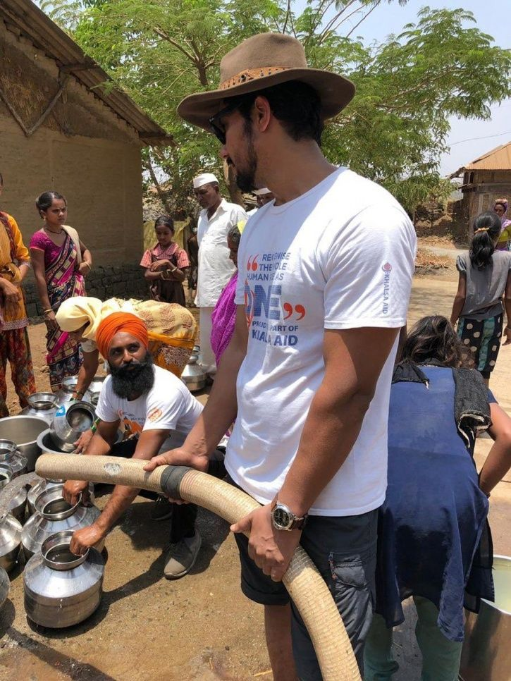 Randeep Hooda provide drinking water to the people drought hit Vele village.