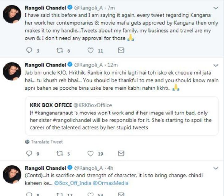 Rangoli Chandel tweets about Kangana Ranaut.