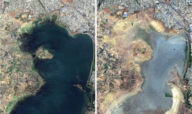 Satellite images show Chennai is running out of water.