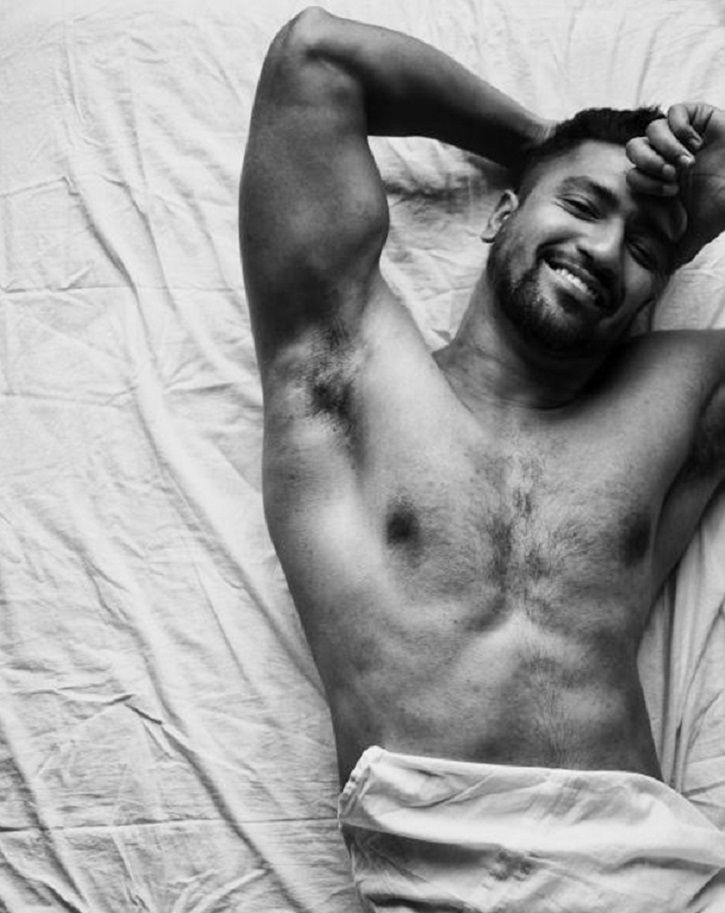 A picture of Vicky Kaushal in bed.