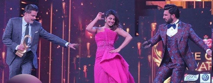 Indian award shows: A pic of Priyanka Chopra, Anil Kapoor and Ranveer Singh at Zee Cine Awards.