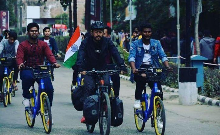 manipur cyclist philem rohan singh raise fund for pulwama martyr