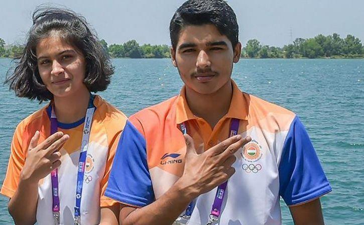 manu bhaker and saurabh chaudhary win mixed team gold at asian championship