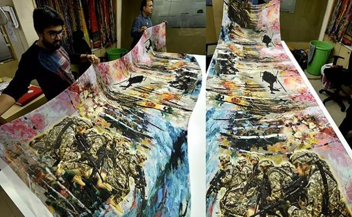 pulwama and army design sari