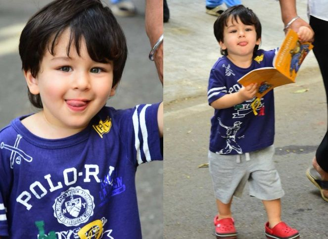 Taimur Ali Khan with goofy expressions.