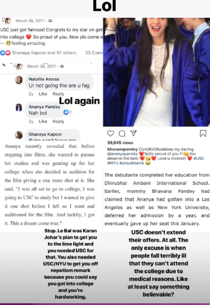 Ananya Panday's Schoolmate Exposes Truth Behind Her Admission To USC & Multiple Relationships!