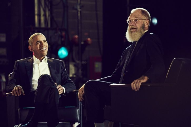 Barack Obama and David Letterman in My Next Guest Needs No Introduction with David Letterman.