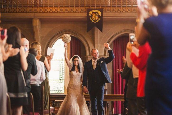 Cassie and Lewis Byrom tranformed their reception venue into Hogwarts wedding.