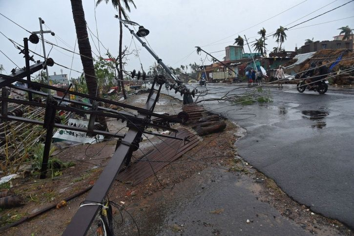 Fallen electric poles are pictured after Cyclone Fani hit Puri