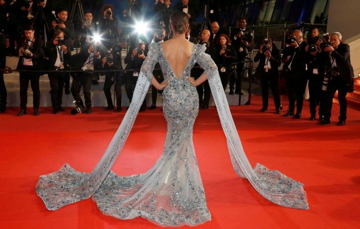 Hina Khan at Cannes Film Festival red carpet for her short film Lines.