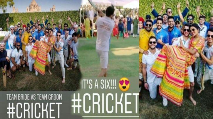 Nick Jonas playign cricket during his pre-wedding festivities in India.