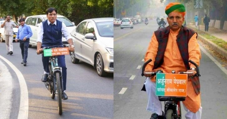 Two BJP MPs Rode A Bicycle For Swearing-In Ceremony At Rashtrapati Bhawan Amid Flock Of Luxury Cars