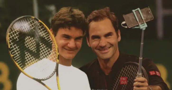 Roger Federer: Celebrities With Their Younger Selves