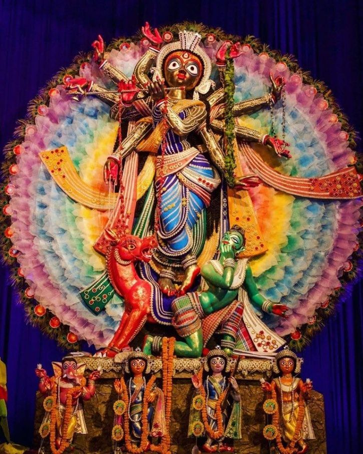 A Durga Puja Pandal In Kolkata Celebrates Gender Diversity With Rainbow Background