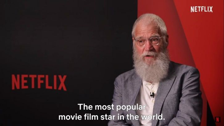 "David Letterman introduces him as ""the most popular movie film star in the world."""