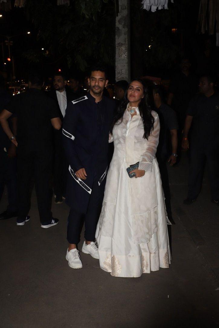 Neha Dhupia and Angad Bedi at Bachchans Diwali party.