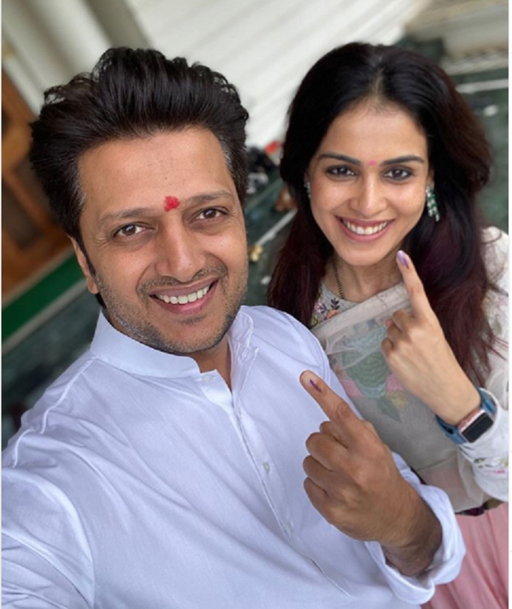 Ritesh Deshmukh and Genelia voted in Aseembly elections 2019 Maharashtra.