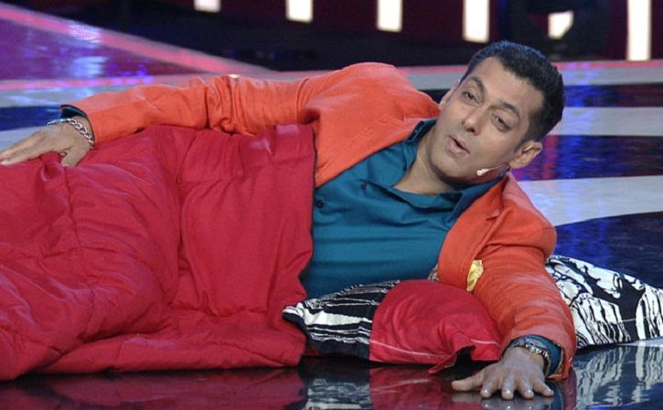 Salman Khan sleeping on the floor on the sets of Bigg Boss.