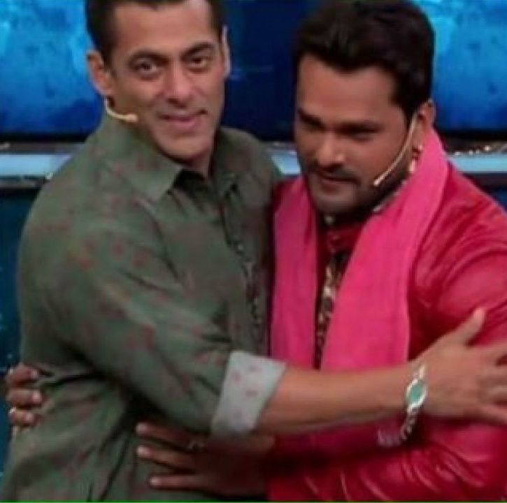 Salman Khan with wild card entrant Khesari Lal Yadav.