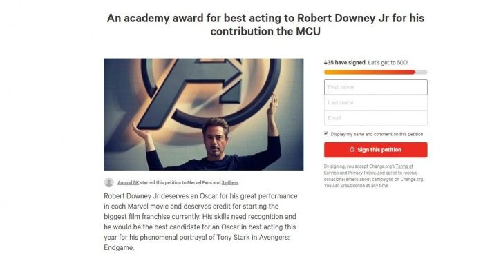 Thousands Of Marvel Fans Sign Petitions To Get Robert Downey Jr An Oscar Nomination This Year!