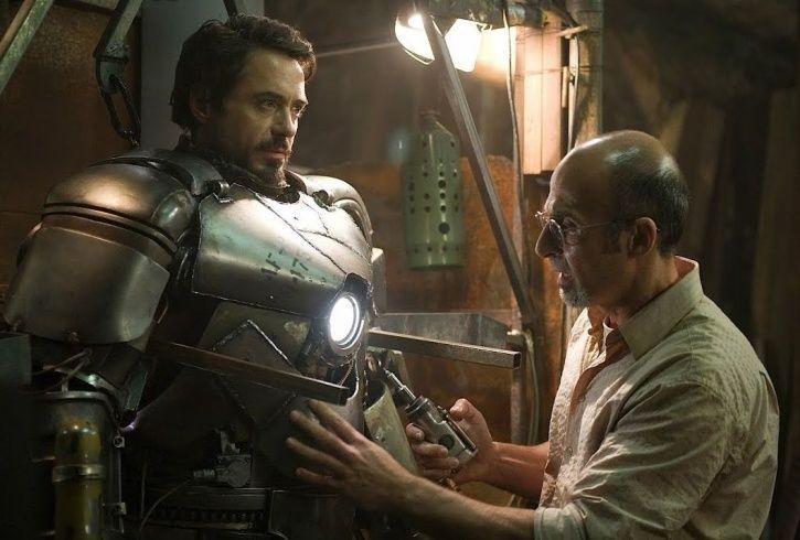 Tony Stark making Iron man suit.