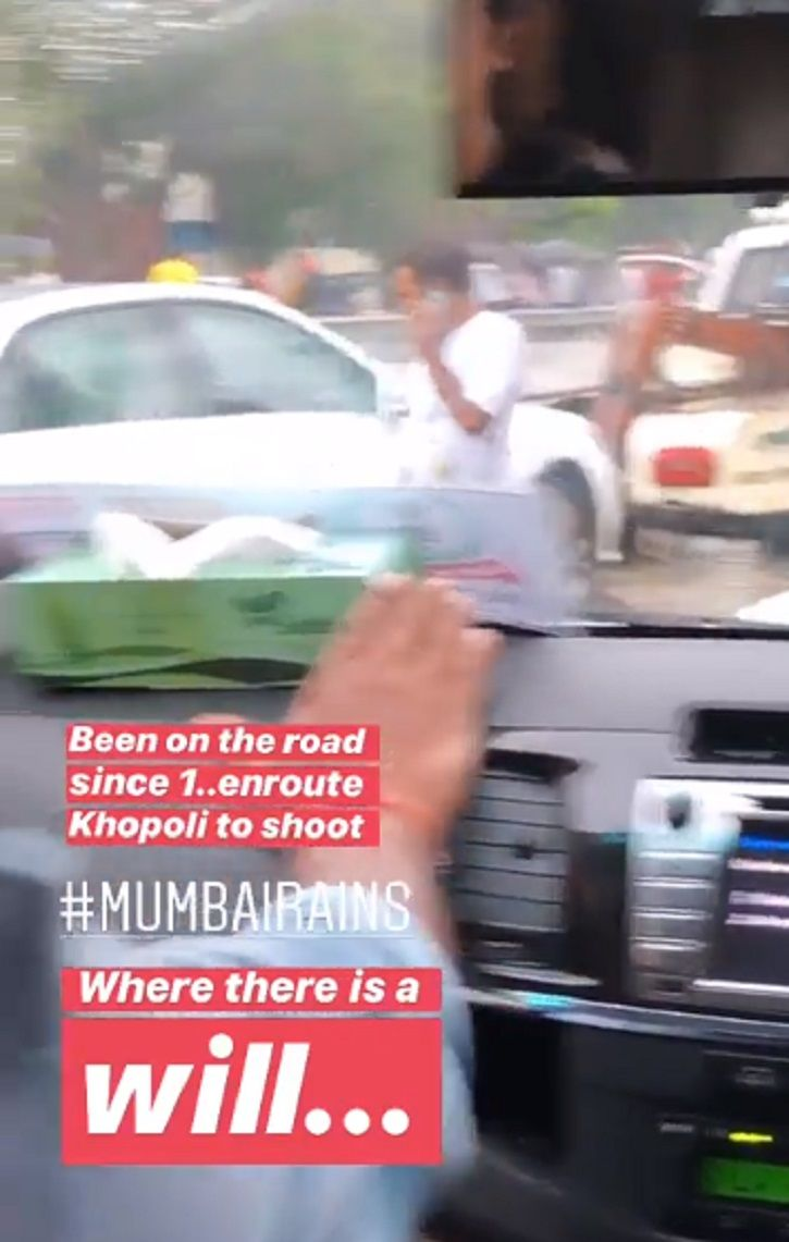 Bhumi Pednekar was also stuck on the flooded road.