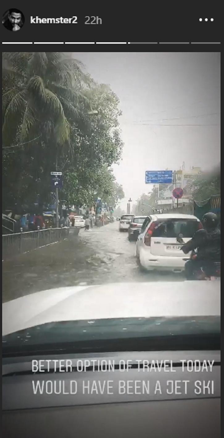 Kunal Kemmu and Bipasha Basu stuck in Mumbai rains.