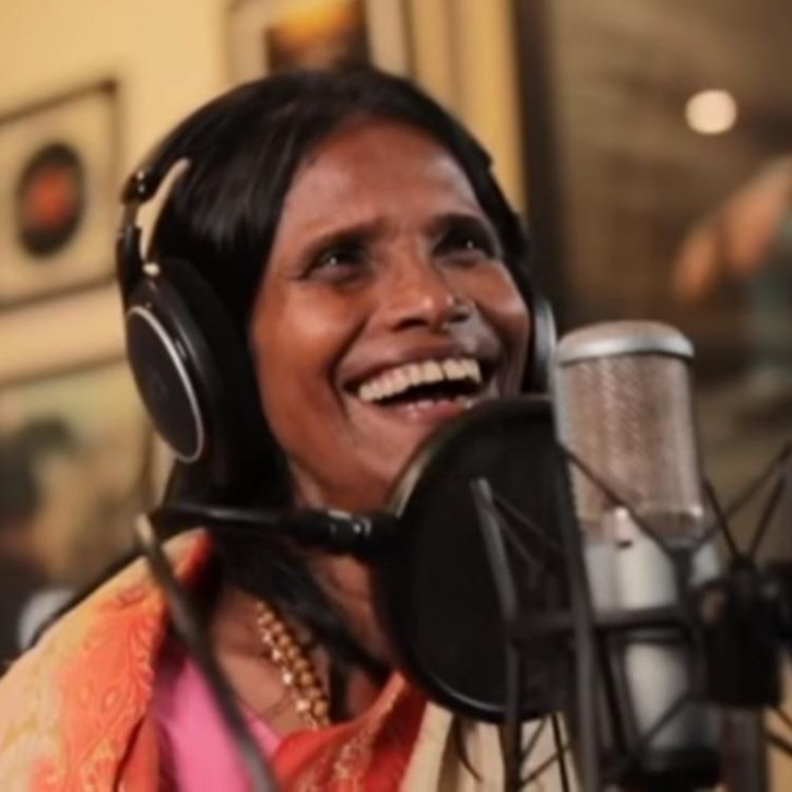 Ranu Mondal records her third song.