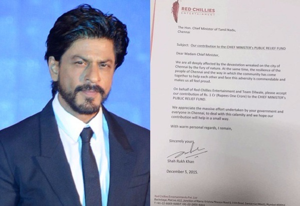 Shah Rukh Khan Donates 1 Crore For Chennai Flood Relief