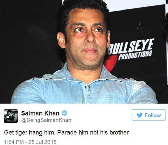 OMG: Salman Khan Tweets In Support Of Yakub Memon