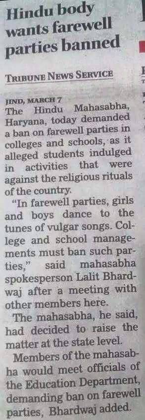 Ban On Farewell Parties In Colleges?
