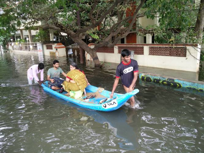 Ola Comes Up With 'boats' To Travel Around Flooded Chennai!