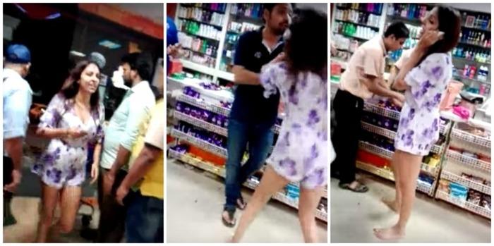 Pooja Misrra Gets Violent With Shop Staff In Delhi's Karol Bagh