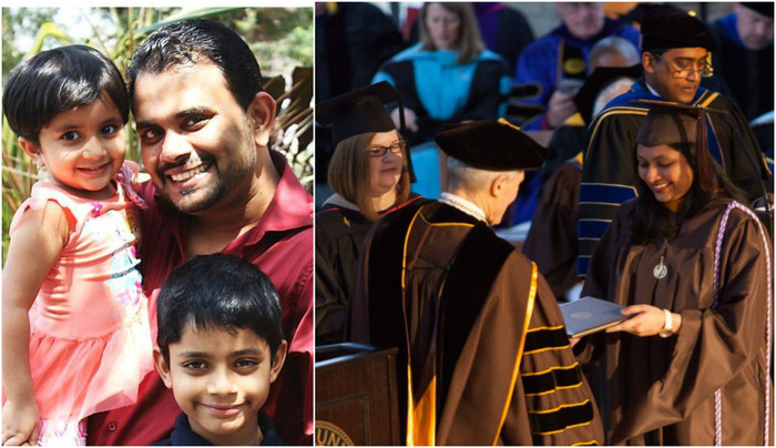 Inspiring: Woman Does Her Masters In The US; Husband Takes Care Of Their Children!