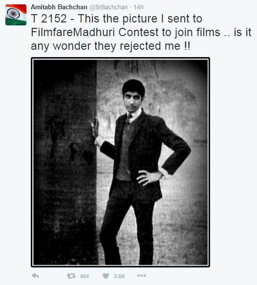 Amitabh Bachchan Just Tweeted An Old Pic For Which He Got Rejected!