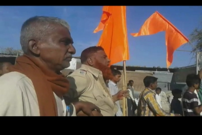 Muslim Cops Attacked And Forced To Carry Saffron Flag In Latur