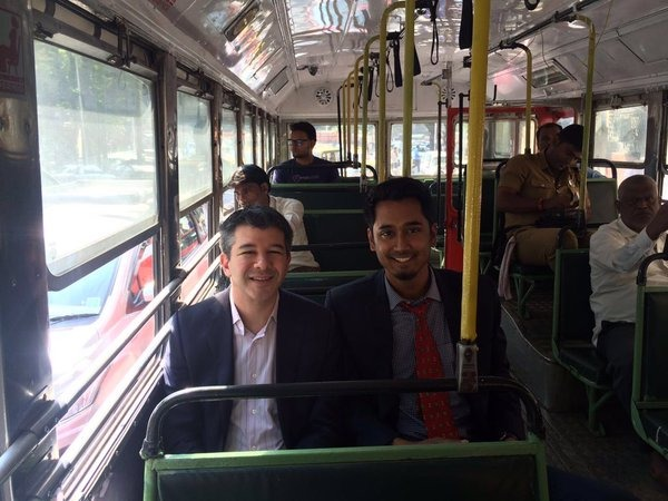Uber CEO And Founder Travis Kalanick Travels By Bus In Mumbai