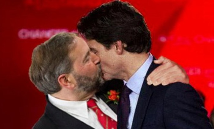 Photoshopped Image Of Canadian PM Justin Trudeau Kissing Male Opposition Goes Viral