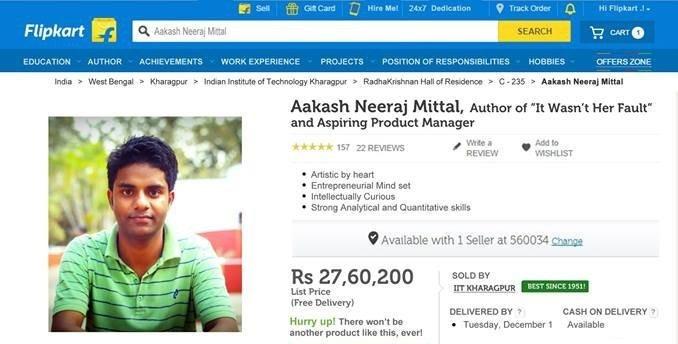 IIT Kanpur Student Literally sells Himself On Flipkart To Get A Job!