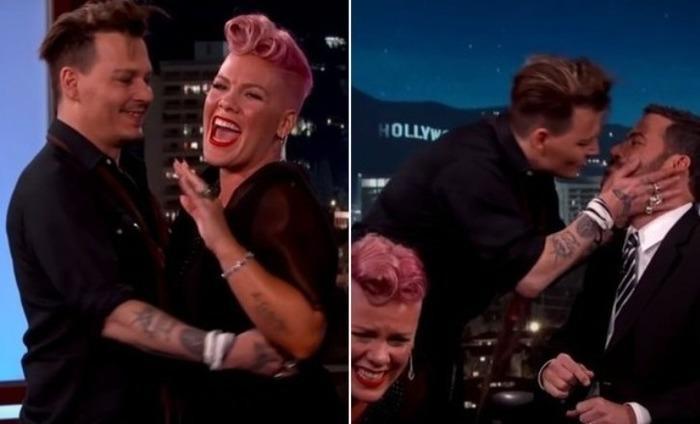 Watch: Johnny Depp Kisses Jimmy Kimmel On The Lips