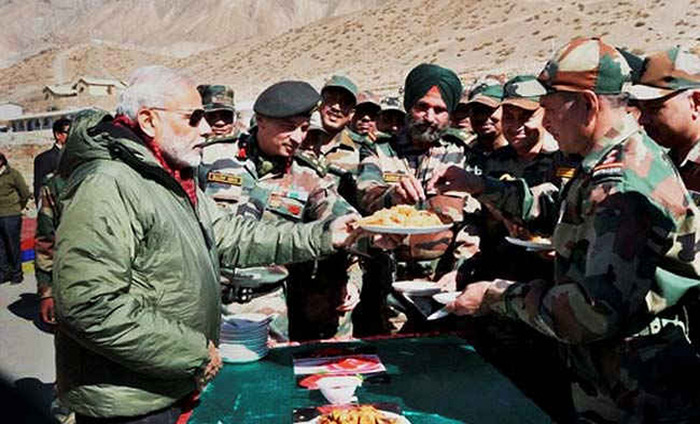 Narendra Modi Shares Diwali Sweets With Soldiers Near China Border