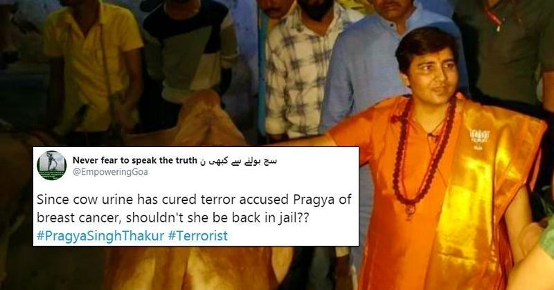 sadhvi pragya:Sadhvi Pragya Says Gau Mutra Cured Her Breast