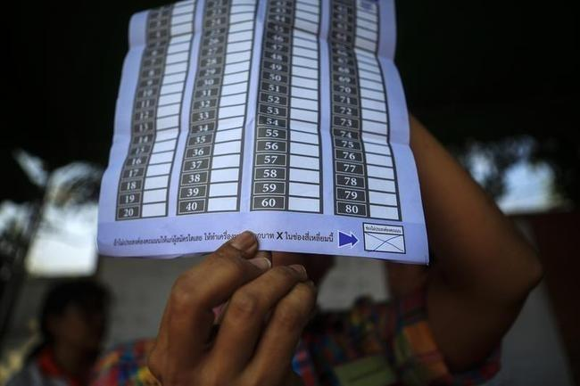 An election commission official displays a ballot paper to the media while counting votes at a polling station in Bangkok