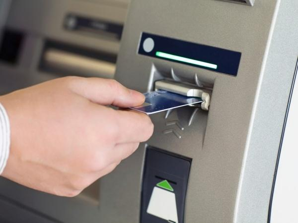 ATM with card inserted